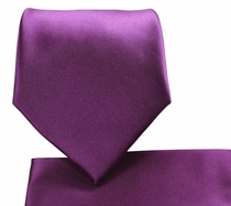 Solid Plum Necktie and Pocket Square Set (Q100-LL)