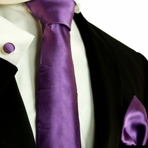 Solid Purple Satin Silk Tie Set by Paul Malone (587CH)