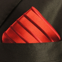 Solid Red Silk Pocket Square (H441)