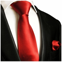 Solid Red Silk Tie and Pocket Square by Paul Malone Red Line