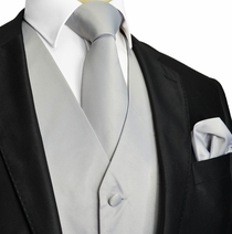 Solid Silver Tuxedo Vest and Accessories