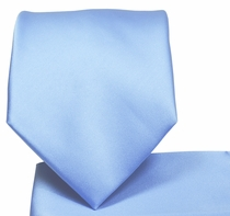 Solid Sky Blue Necktie and Pocket Square Set (Q100-R)