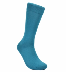 Solid Teal Blue Cotton Dress Socks by Paul Malone