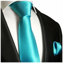 Solid Turquoise Silk Tie and Pocket Square by Paul Malone Red Line