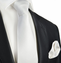 Solid White 7-fold Silk Tie and Pocket Square Set