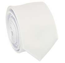Solid White SLIM Necktie . 2.25' wide (Q3000-A)