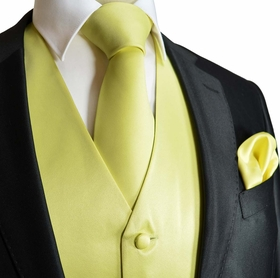 Solid Yellow Mens Wedding Vest with Accessories (Q10-K)