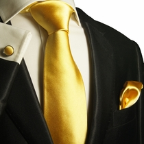 Solid Yellow Silk Tie Set by Paul Malone (1003CH)
