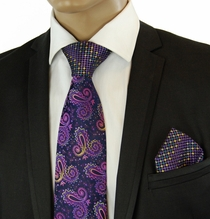 Purple Steven Land Contrast Knot Tie a. Pocket Square