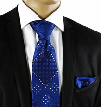 Steven Land Crystal Tie Set . Blue (C72-4)