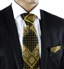 Steven Land Crystal Tie Set . Gold a. Black (C72-12)