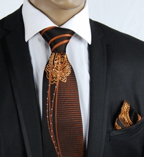 Steven Land Necktie and Pocket Square with Crystals (CR500)