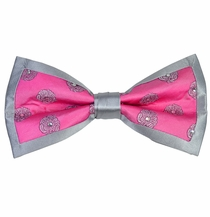 Pink and Silver Steven Land Silk Crystal Bow Tie Set