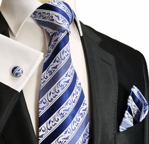 Striped Blue Paul Malone Silk Tie Set (855CH)