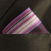 Striped Hand Made Silk Pocket Square (H251)