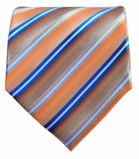 Striped Men's Necktie . Blue on Orange