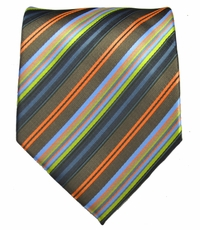 Striped Men's Necktie . Olive