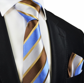 Striped Men's Silk Tie and Pocket Square by Paul Malone