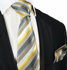 Striped Silk Tie and Pocket Square by Paul Malone