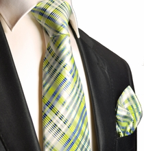 Summer Green and Blue Silk Tie Set . Paul Malone Red Line