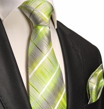 Summer Green Silk Tie and Pocket Square . Paul Malone Red Line