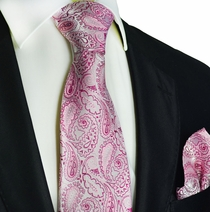 Sweet Lilac Paisley Silk Tie Set by Paul Malone Red Line