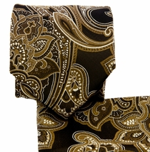 Tan and Black Paisley Necktie and Pocket Square Set (Q569-T)