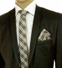 Tan and Black SLIM Silk Tie Set by Paul Malone (Slim791H)