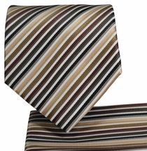 Tan and Brown Necktie and Pocket Square Set (Q576-D)