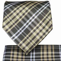 Tan and Brown Plaid Necktie and Pocket Square