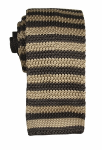 Tan and Brown Striped Knit Tie by Paul Malone (KN665)