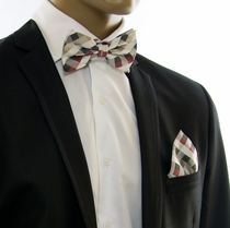 Tan and Burgundy Silk Bow tie Set by Paul Malone (BT557H)