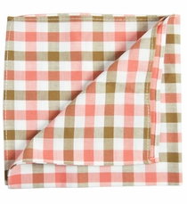 Tan, Pink and White Cotton Pocket Square by Paul Malone