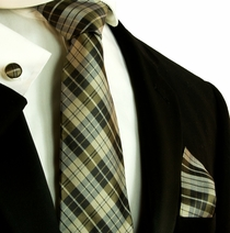 Tan Plaid Silk Necktie Set by Paul Malone (791CH)