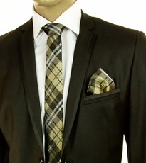 Tan Plaid SLIM Tie Set by Paul Malone (Slim583H)