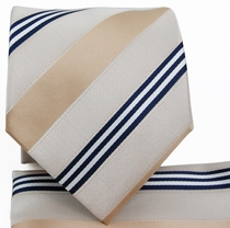 Champagne Striped Necktie a.Pocket Square Set (Q506-S)
