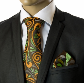 Tie and Pocket Square Set by Verse9 . Big Knot . 100% Silk