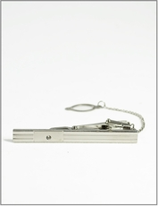 Tie Bar with Chain . Silver