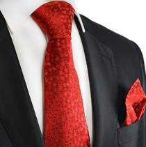 True Red Silk Tie and Pocket Square Set by Paul Malone