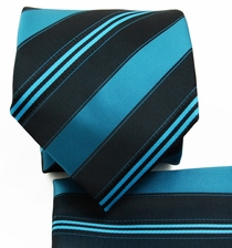 Turquoise a. Black Striped Tie Set (Q506-R)