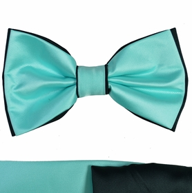 Turquoise and Black Bow Tie with Two Pocket Squares