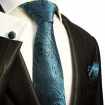 Turquoise and Black Paisley Necktie Set by Paul Malone (574CH)