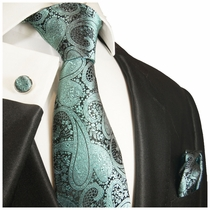 Turquoise and Black Paisley Silk Necktie Set by Paul Malone (590CH)