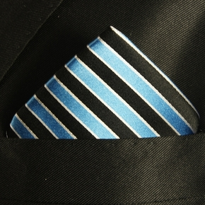 Turquoise and Black Pocket Square . 100% Silk (H831)