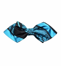 Turquoise and Black Silk Bow Tie by Paul Malone