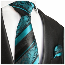 Turquoise and Black Silk Tie Set by Paul Malone