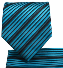 Turquoise and Black Striped Necktie and Pocket Square Set (Q576-J)