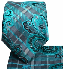 Turquoise and Grey Men's Tie and Pocket Square