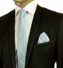 Turquoise and White Striped SLIM Silk Tie Set by Paul Malone (Slim596H)