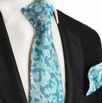 Turquoise Camouflage Silk Tie and Pocket Square by Paul Malone
